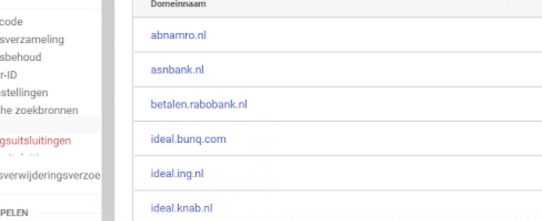 Betaalproviders van banken verwijderen uit Google Analytics